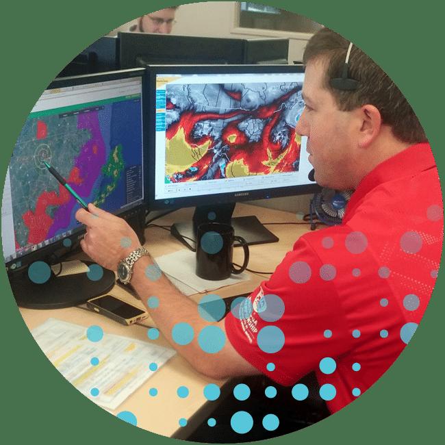 Meteorologist on phone