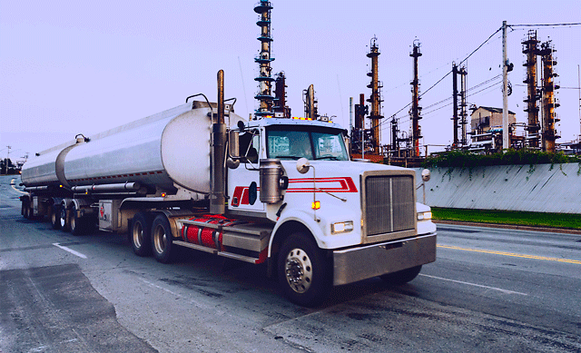 Fuel tanker at refinery