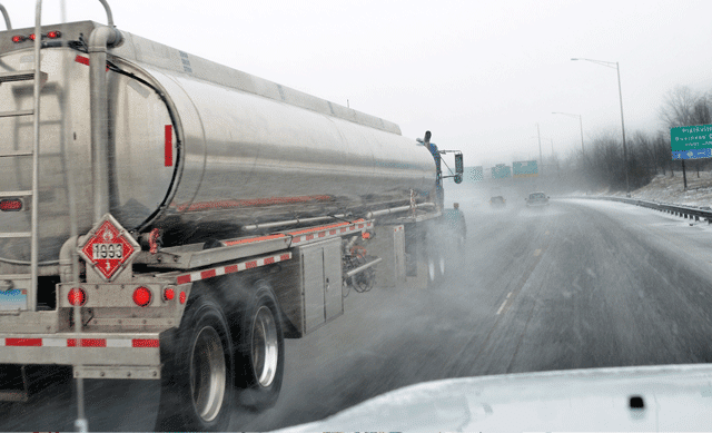 Tanker driving in the rain
