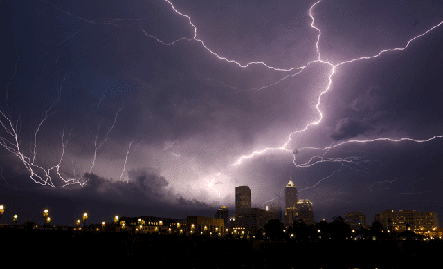 Lightning storm in the city
