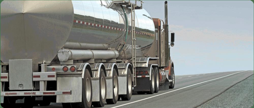 Fuel truck driving away