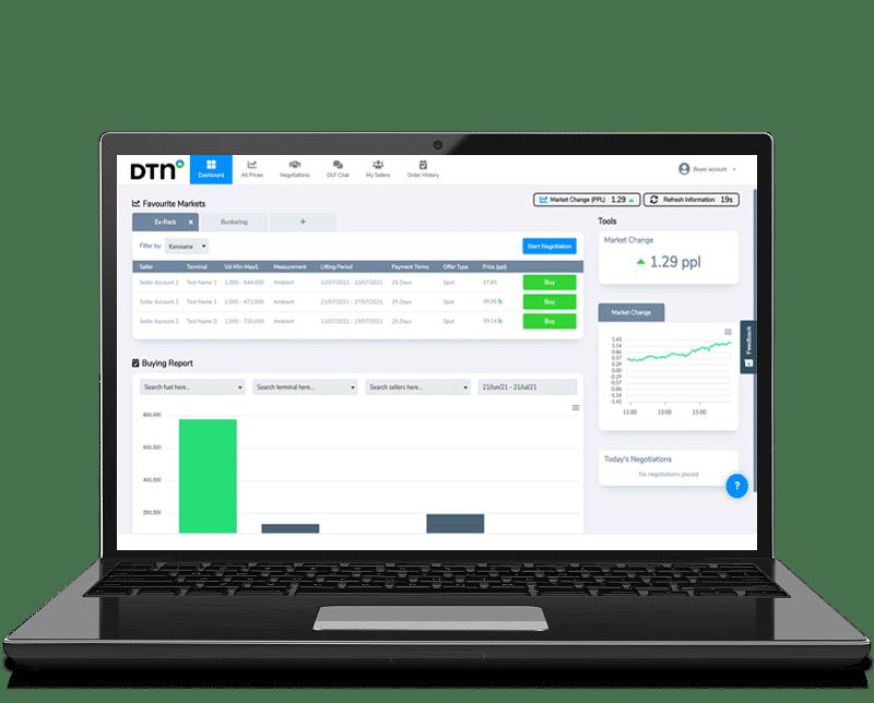 DTN Fuels marketplace buyer laptop vector