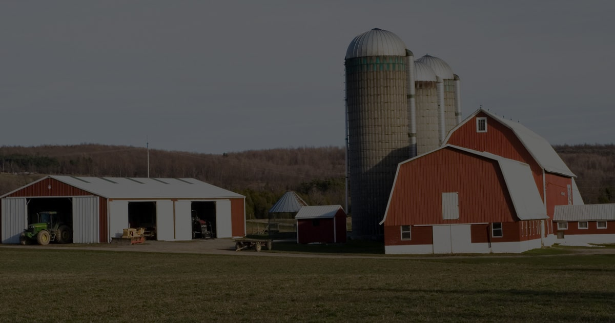 Feature Red Barn on Farm