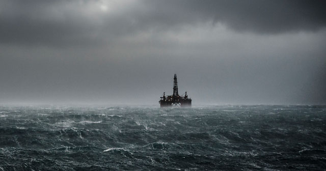 news insights oil rigg during a winter storm on the North Sea