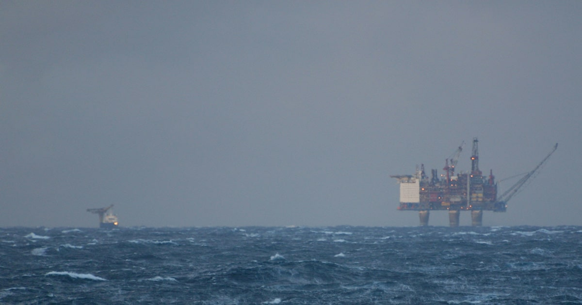 Offshore Platform and Vessel in Bad Weather
