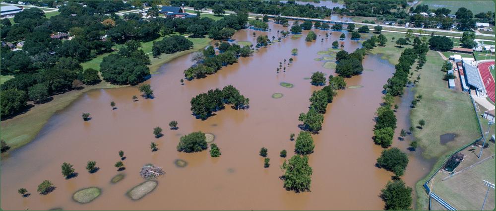 Flooded land from Hurricane Harvey