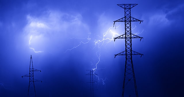 Blog Header Electrical Pylon with lightning in sky