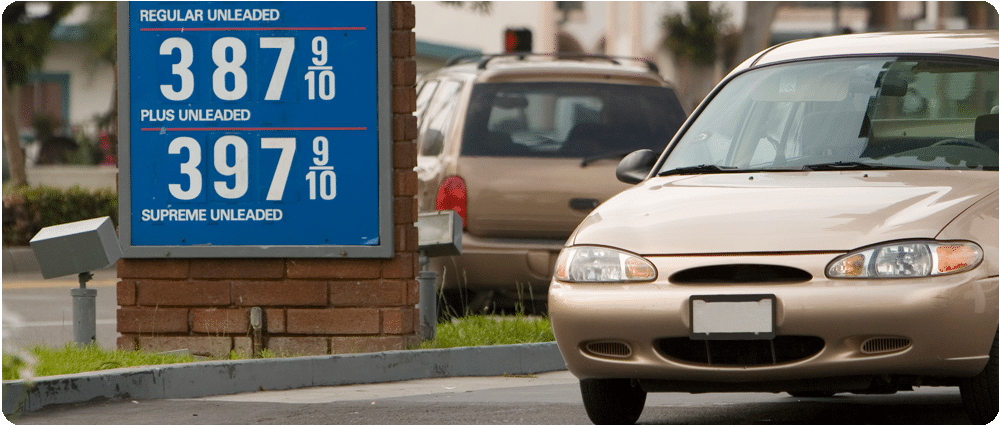 Car in front of gas prices