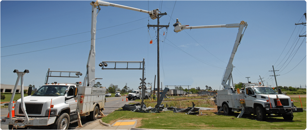 Power line repair trucks