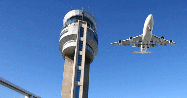 News insights Airplane flying over control tower