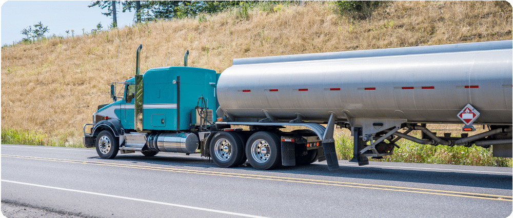 Fuel truck driving on the highway