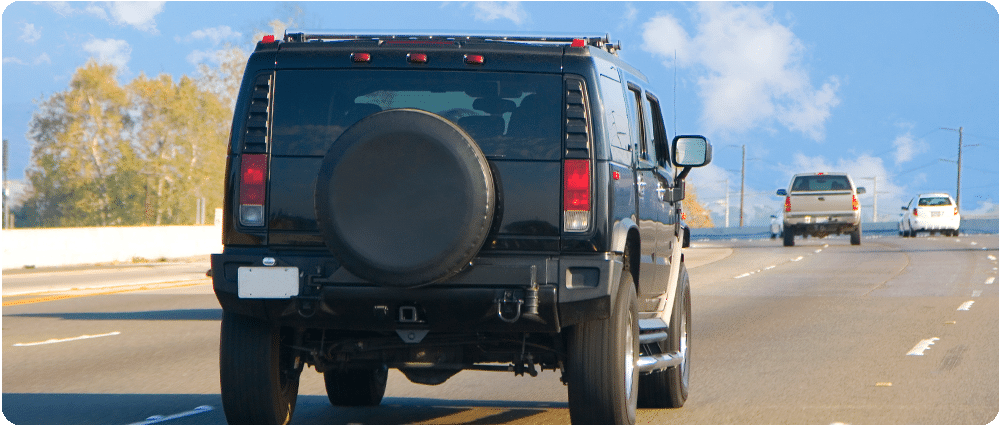 Hummer driving on the highway