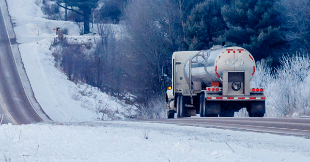 News Insights Fuel truck driving on winter road