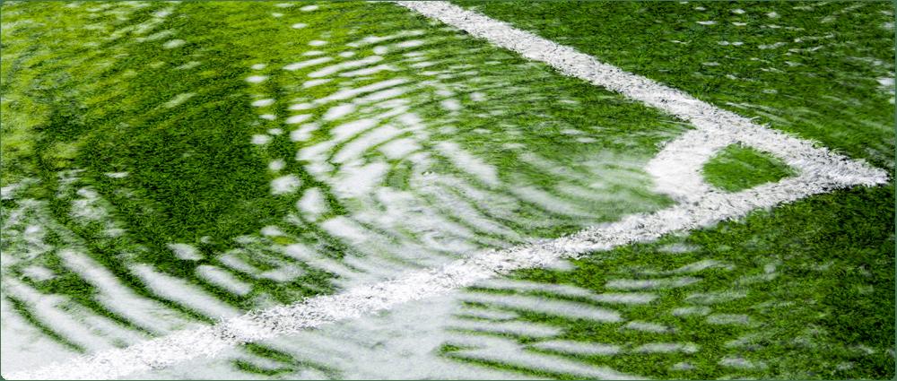 Flooded sports field