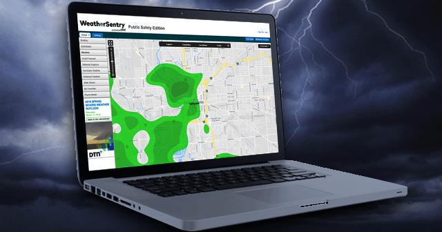 Blog header WeatherSentry on laptop with lightning background