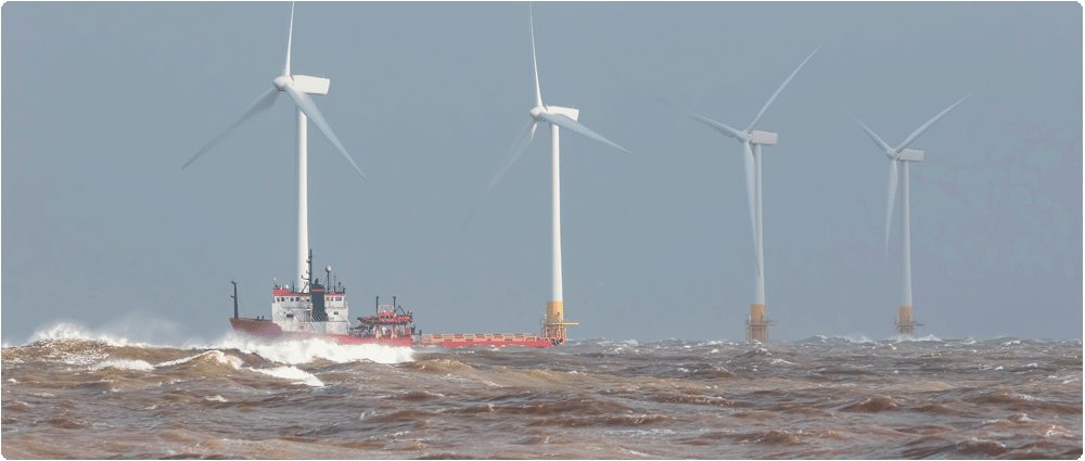 Offshore wind farm rough waters