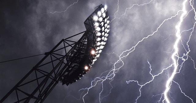 Blog Header Stadium lights with lightning in sky